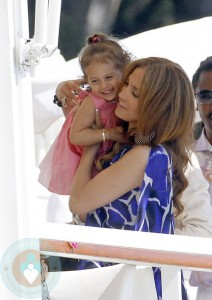 Jennifer Lopez and daughter Emme at the Eden Roc Hotel