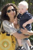 Actress Minnie Driver and her son Henry Story Driver