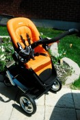 Stroller seat without canopy attached
