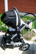 Skate frame with infant car seat attached