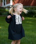Ruffle dress in black, long sleeves - Upcycled, sustainable fashion
