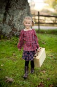 Peasant blouse and circle skirt in red and navy plaids