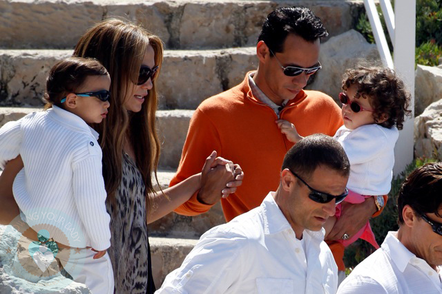 Jennifer Lopez and Husband Marc Anthony with twins Max and Emme