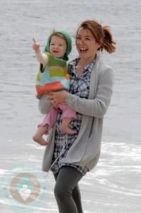 Alyson Hannigan and daughter Satyana in Malibu
