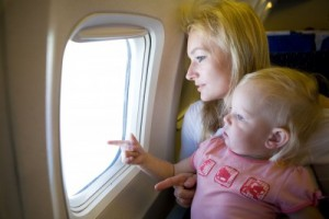 Mom and Daughter on Airplane