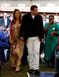 John Travolta and Kelly Preston in Johannesburg, South Africa