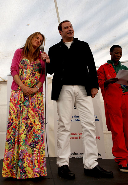 John Travolta and Kelly Preston in Johannesburg, South Africa