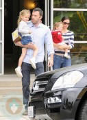 Ben Affleck and Violet Affleck with wife Jennifer Garner and daughter Seraphina