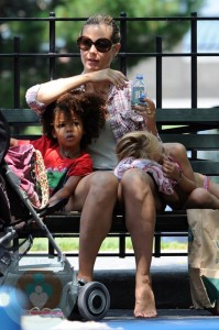 Heidi Klum with her kids Leni and Johan
