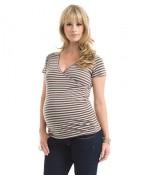 Striped Maternity Faux Wrap Top $17.80