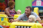 Liev Schreiber and sons Alexander and Sammy (in background with Nanny)
