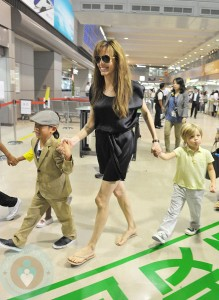 Angelina Jolie with Pax and Shiloh