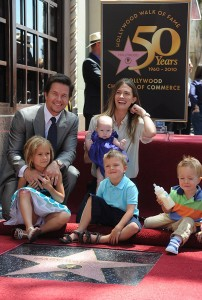 Wahlberg with wife Rhea Durham and their kids, from left, Ella, Grace, Michael and Brendan