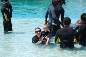 My son and I at the Dolphin Encounter