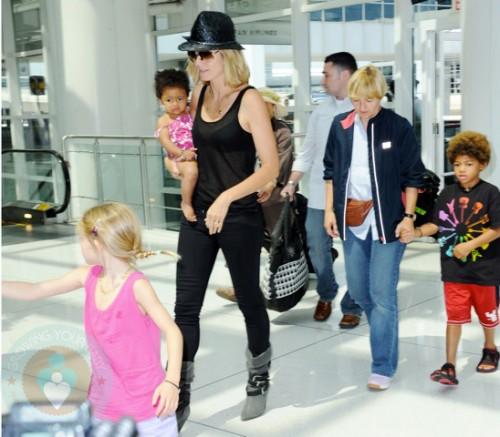 Heidi Klum with kids Lou, Johan, and Leni