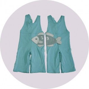 Blue dungarees with fish embroidery