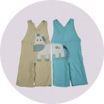 Green and blue dungarees with donkey embroidery