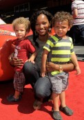 Garcelle Beauvais at World of Cars launch with sons Jax and Jaid