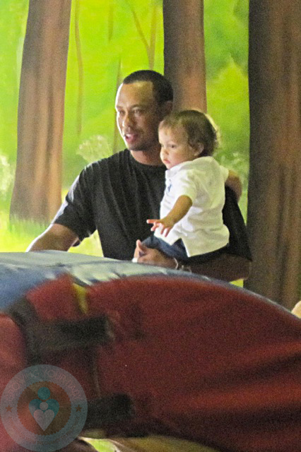 Tiger Woods with son Charlie