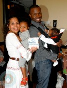 Sean Patrick Thomas and wife Aonika with their daughter Lola and son Luc