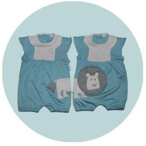 Blue Growsuits with lion embroidery
