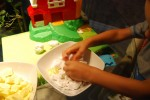 My Oldest playing with the Moon Dough
