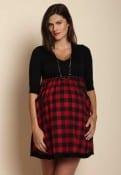 Black/Red BUFFLE JERSEY DRESS