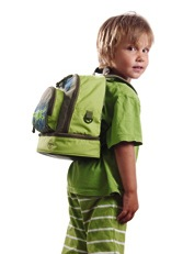 Child wearing a backpack