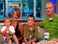 "From left, Brendan, 2, Tabitha, Logan, 9, and Brent Hearn, on ""The Early Show.""  (CBS)"