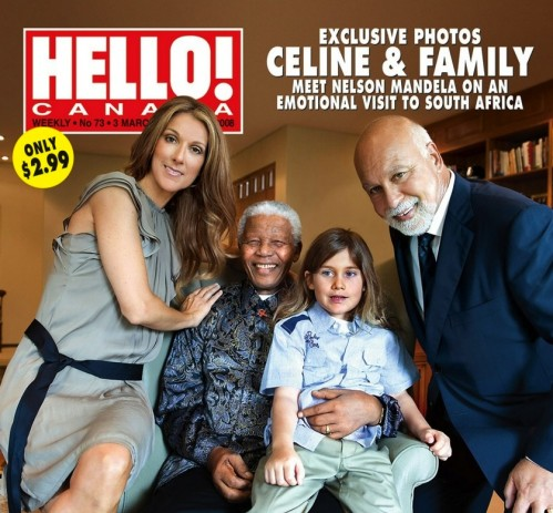 Celine and Family Pose with Mandela in 2008