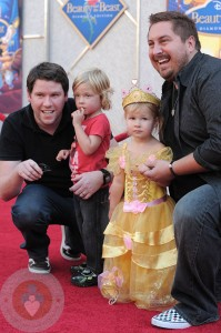 Liam and Stella McDermott with 'Guncles' Bill Horn and Scout Masterson