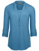 Roll-sleeve henley tunic