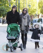 Milla Jovovich with husband Paul and daughter Ever