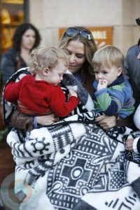 Brooke Mueller at the Grove with her twins