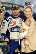 Jimmie Johnson with daughter Genevieve Marie and wife Chandra