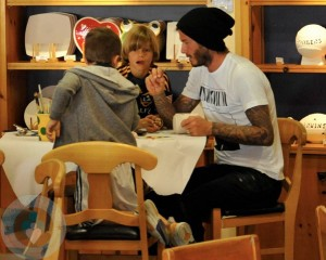 David Beckham with sons Cruz and Romeo