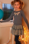 Butterfly jumper with gold cancan, slate/gold