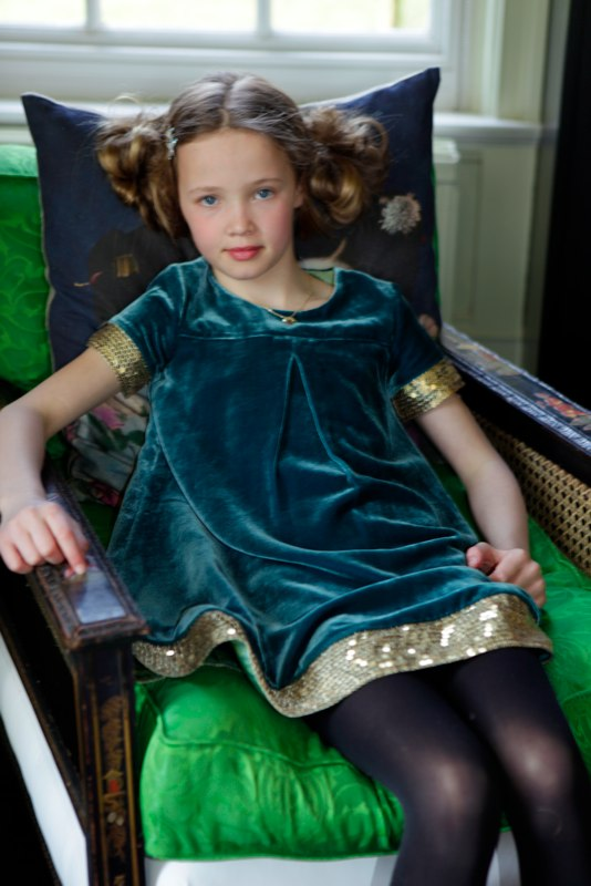 Velvet Dress With Sequined Trim Growing Your Baby