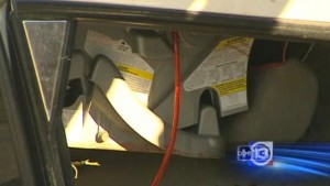 photo of the infant seat suspended