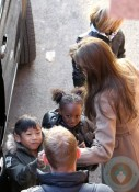 Angelina Jolie with Shiloh, Zahara & Pax at Paris Aquarium