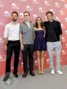 Benjamin Millepied, Darren Aronofsky, Natalie Portman and Vincent Cassel attend the photocall for 'Black Swan'