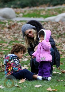 Heidi Klum with daughter Lou and son Johan