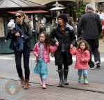 Rebecca and Billie Dane at the Grove with Soleil Moon Frye and her girls Jagger and Poet Goldberg