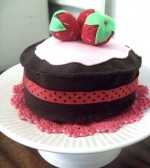 Tea Party Play Chocolate Cream Cake with Strawberries