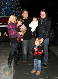Tori Spelling with Stella and Liam,  Bill Horn with Scout Masterson and daughter Simone