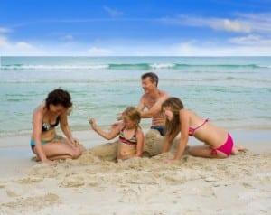 family enjoy the beach
