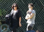 Orlando Bloom with sister Samantha and son Flynn