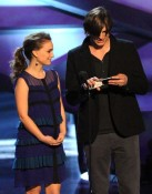Natalie Portman and Ashton Kutcher onstage during the 2011 People's Choice Awards