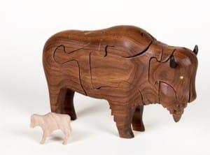 Wooden 3-D Buffalo Puzzle