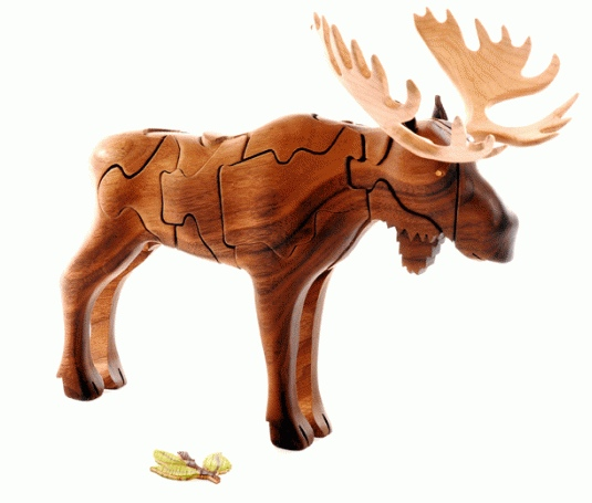 Wooden 3 D Moose Puzzle Growing Your Baby